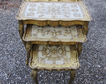 Vintage Italian Florentine Nesting Tables, Gold Gilt, Hand painted Plastic, Hollywood Regency, Glam, Made In Italy