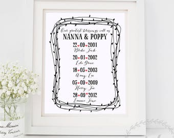 Grandparent Gift / Our Greatest Blessings / Grandchildren Special Dates Print / Mothers Day Gift / Birth Dates / Gift from the Grandchildren