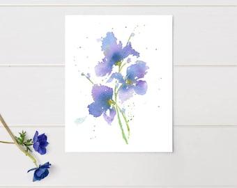 Purple Art Iris 3 Gift For Her art print