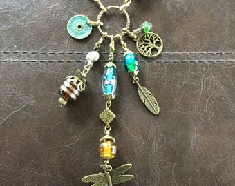 """Village Cat """"Dragonfly Charm"""" Beaded Necklace"""