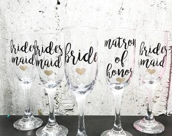 5 Personalized Bridesmaid Glasses - Bridesmaid Champagne Glasses - Bridesmaid Flutes