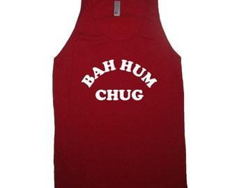 tank top bah hum chug christmas shirt sleeveless xmas in july idea ugly sweater party apparel mens womens guys ladies funny bah hum bug beer