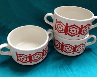 Scandi style 1960s double handled soup bowls x3