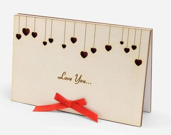 Love Birthday Cards, Gift For Her, Wood Card, Gift For Girlfriend, Valentine Card Him, Valentine Card Her, Romantic Birthday Card, Love Card