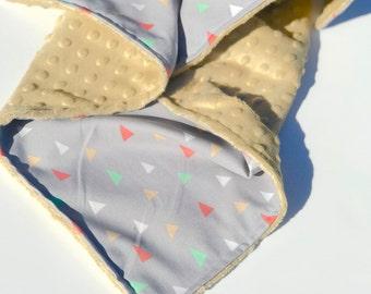 New Triangle Print Minky Baby Blanket