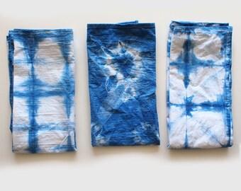 indigo dyed cotton tea towels - set of 3