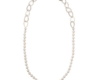 Sterling Silver Small Waterdrop & Pearl Necklace