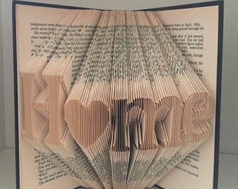 Home folded book art with heart detail