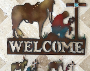 Airbrushed Rustic Metal Cowboy Cross Welcome Sign/Ornament
