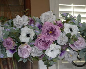 wedding arch, silk wedding arch,church wedding arch,purple wedding arch, anemone wedding arch, chuppah arch flowers