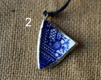 Blue Broken China Necklace Set #1