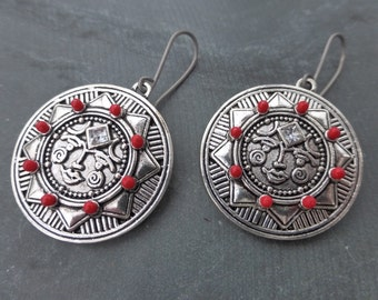 Rhinestone & Red Enamelled Tribal Sun Earrings With Hypoallergenic Titanium OR Sterling Silver Ear Wires - Pagan - Boho - Gypsy - Festival