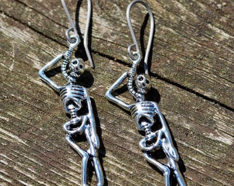 Silver Hanging Skeleton Earrings With Handmade Hypoallergenic Titanium, Niobium OR Sterling Silver Ear Wires - Goth - Halloween - Horror