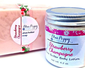 Strawberry Champagne Soap & Lotion Gift Set, Gift for Her, Bridal Party Gift, Shower Favor, Girlfriend Gift, Soap Gift Set, Bath Set