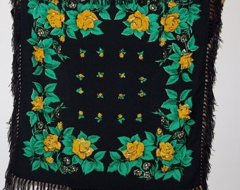 Unique Big Black Polish 70's shawl with fringes, Floral shawl, Roses Russian shawl, Ukrainian Shawl Folk Scarf with Tassel, flowers Bohemian