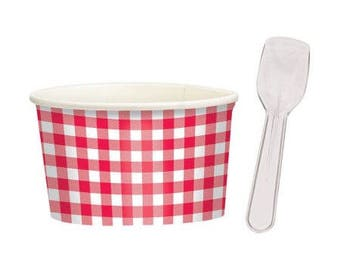 Set Of 8! Red Gingham Check Sturdy Paper Treat Cups - Ice Cream Cups with Spoons! - Chili Cups - Hot & Cold Cups