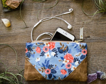 Summer Outdoors / Rifle Paper Floral Waxed Canvas Pouch / Waxed Cotton / Pencil Case / Accessory Case / Bohemian / Bag / Back To School