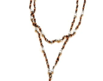 Beaded Dangle Silver, Wood, Glass Choker Chain Necklace
