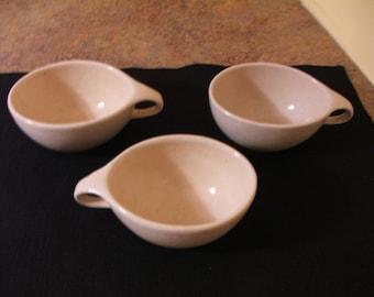 Set of Three (3) Vintage 1950s Mid-Century Modern Raymor Roseville RMA Contemporary White Coffee Cups - Ben Seibel Design