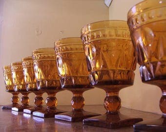 Vintage Set of Eight (8) Vintage 1960s Indiana Glass / Tiffin Amber Colony Park Lane Water Goblets