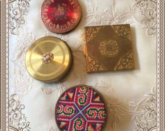Vintage Boxes, Vintage Compacts, French Petit Point Box, Art Deco Compact, 1920-1940