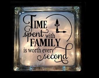 Family Gift Lighted Glass Block  - Time Spent With Family - Family Night Light - House Warming Gift - Mantle Decor  - GB-1134