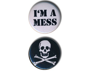 "Sid Vicious inspired Pin Badges ""I'm a mess""  and Skull 25mm 1 inch Badge Punk"