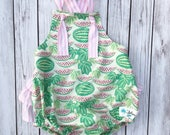Pink Watermelon Romper , Watermelon Romper , Watermelon Birthday Party , Baby Romper , Toddler Romper , Pink and White Romper , Watermelon