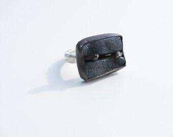 Art jewelry: 2 stone black Druzy ring