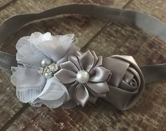 Gray Baby Headband, Floral Headband, Grey Headband, Baby head wrap, flower headband