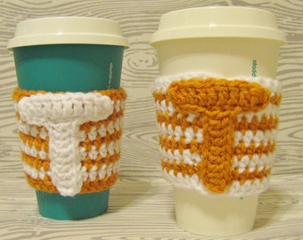 University of Texas, Cup Cozy, Crochet Sleeve, Drink Holder, Hot or Cold Beverage, Football, UT, Birthday Gift, Cup Warmer, Graduation Gift