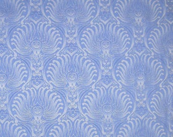 """Timeless Treasures """"Plume"""" Baroque Wallpaper Damask Ice Blue/Silver Fabric"""