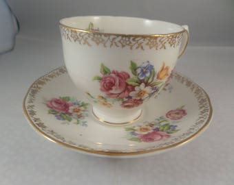 Bone china duo,  Salisbury china,  Stoke on Trent,  English Bouquet,  Stoke on Trent, floral design,  Traditional china, cup and saucer