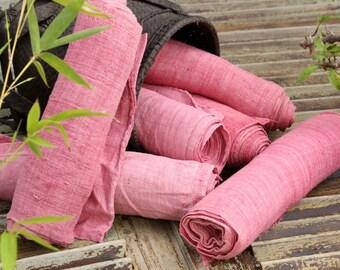 Hmong Hand Woven Pink Vintage Hemp Rose Fabric Soft Cool Hill Tribe Organic