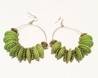 Green Black Orange beaded hoop earrings