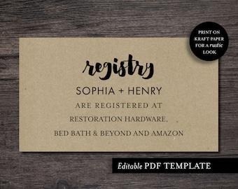 Registry Card | Registry Card Template | Modern Registry Template | PDF Editable Template | Rustic Registry | Instant Download | Registry