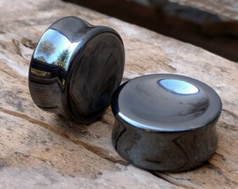 "Pair Hematite Double Flared Concave Rounded Metallic Grey Plugs 8mm 0G 10mm 00G 12mm (1/2"") 14mm (9/16"") 16mm (5/8"") 18mm (11/16"") 25mm (1"")"