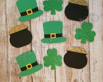 12 St. Patrick's Day Cupcake Toppers - Shamrock Cupcake Toppers - St. Paddy's Day Cupcake Toppers - Luck of the Irish Toppers