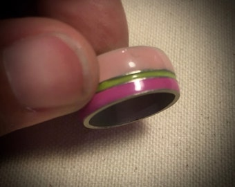Vintage Enamel Ring - Pink and Green - Wide Band Ring