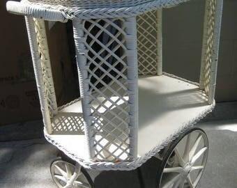 Rare Victorian 20th C. Heywood Wakefield Wicker Tea Cart with Tray