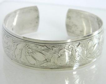 Vintage Danecraft Sterling Silver Floral Cuff Bracelet