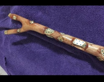 Carved Dice Walking Stick