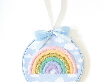 Rainbow 'In The Sky' Hoop Art in 'Pastel'
