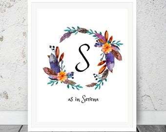 Personalized Nursery Art Print, Naming day gift, Naming gift, Name Print Wall Art, Boho print, Printable Playroom, Digital Download.
