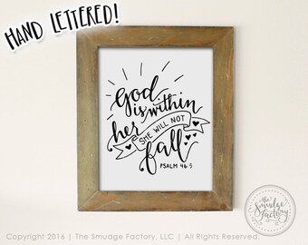 Bible Verse Print, God Is Within Her, She Will Not Fall Printable File, Psalm 46:5, Hand Lettered, Bible Verse Wall Art, Baby Girl Nursery