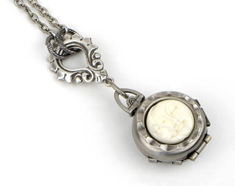 Women's Locket Necklace, Multi Photo Locket, Convertible Length Locket Necklace, Antique Silver Locket, 4 Photo Locket, Picture Locket Gift