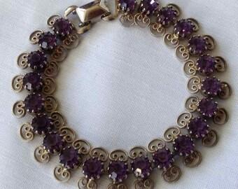 Vintage Weiss Jewelry Amethyst Rhinestone Bracelet - Made in USA - 1950's