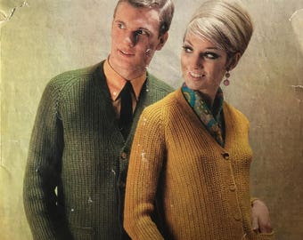Vintage Knitting Pattern 1960s Cardigan Marriner