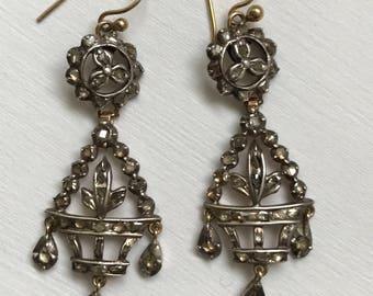 An Pair of Antique  Rose Cut Giardinetti Urn Earrings