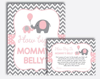 Instant Download, Elephant How Big Is Mommy's Belly Game, Belly Guessing Game, Pink Gray Chevron, Elephant Baby Shower Games, Girl (SBS.36)